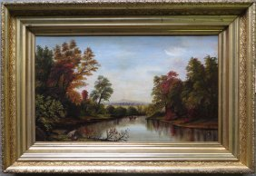 O/C Hudson Valley Scene With Man In Rowboat Surrou