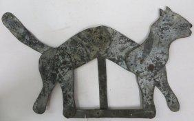 Folk Art Articulated Sheet Iron Cat.
