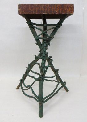 Adirondack Painted Twig Plant Stand With Original Sp