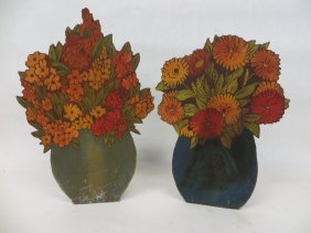 Two Flemish Art Floral Displays Hand Decorated With