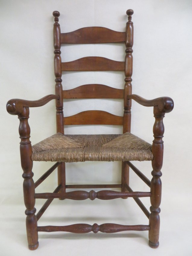 early slat back arm chair with sausage turnings on legs