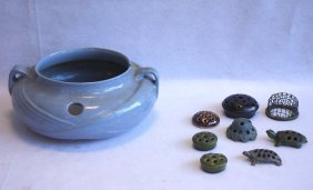 Grouping Of Mostly Art Pottery Including Large Double