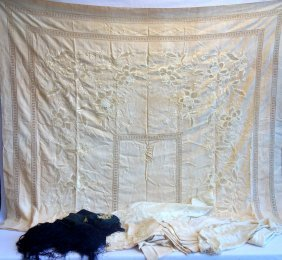 Grouping Of Good Table Linens & A Shawl. Shawl In Black