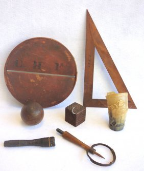 Grouping Of 5 Early Wooden Utilitarian Objects