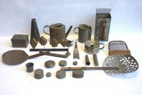 Grouping Of 23 Metal Utilitarian Objects Including 2