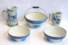 Five Pieces Of Blue And White Stoneware Including