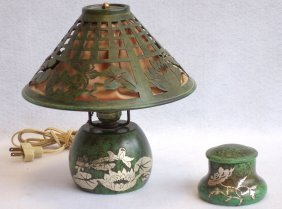 Small Bronze Signed Heintz Table Lamp With Green Finish