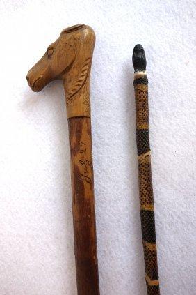 Two Folk Art Sticks Including Snake Form Pointing Stick