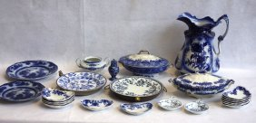 Grouping Of 23 Pieces Of Blue And White Transferware