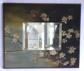 Old Beveled Glass Mirror With Hand Painted Floral Frame