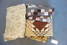 Grouping Of 3 Textiles Including 19th Century Patchwork
