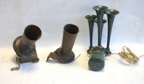 Grouping Of Three Car Horns Including A Sparton With