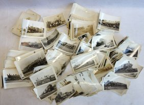 Large Grouping Of Black And White Photos Of Old Trains,