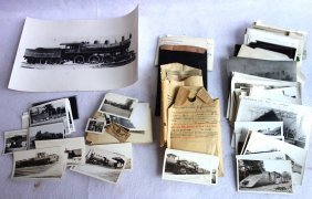 Grouping Of Railroad Related Photos Including A Large
