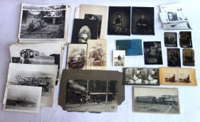 Grouping Of Old Photos, Mostly Train Related With