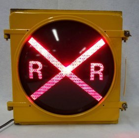 Vintage Lighted Railroad Crossing Sign With Red Lens