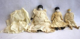 Three Porcelain Shoulder Head China Dolls With Cloth