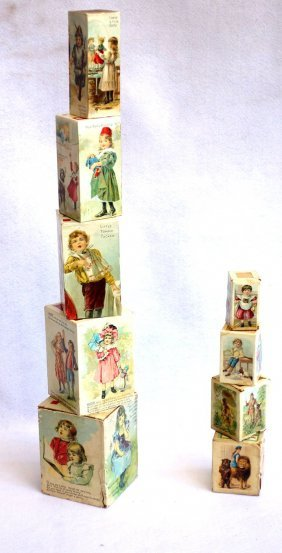 Two Sets Of Lithographed Stacking Blocks, Late 19th
