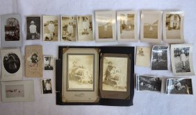 Grouping Of Old Photos Of Children With Toys Including