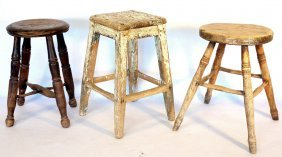 Three Early Jointed Stools, 18th And 19th Century. All