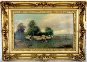 O/c Sheep In Meadow Signed Jan Pietras - 19th Century.