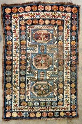 Oriental Scatter Rug, Several Repairs. 19th Century. 3'