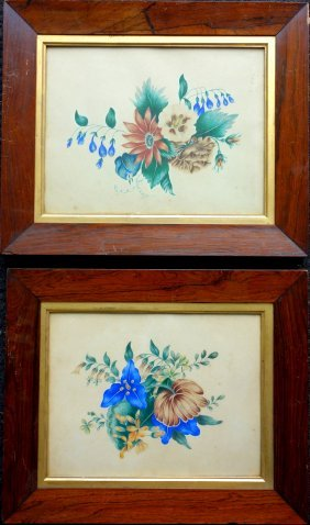 Matched Pair Of Floral Theorem Water Colors In Original