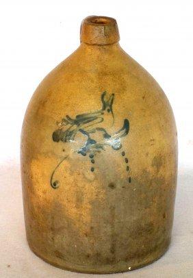 Stoneware 2 Gallon Jug With Cobalt Blue Bird On Branch