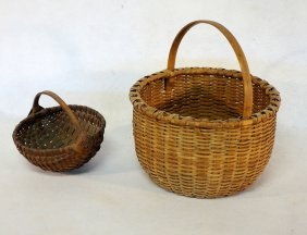 Two Early Splint Baskets Including Small Melon Basket -