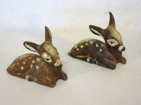 """Two Cast Iron Reclining Deer. 8""""l, Good Condition."""