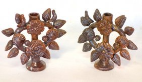 Pair Of Matching Sewer Tile Candlesticks Decorated With