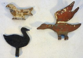 Three Cast Iron Bird Form Shooting Targets Including