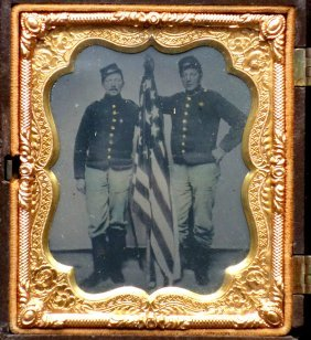 Tintype Of 2 Civil War Soldiers Holding An American