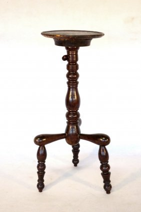 Early Adjustable Maple Candle Holder With Birdseye Dish