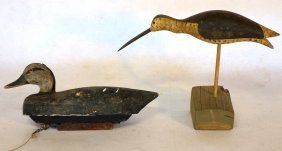 Two Decoys Including Primitive Balsa Wood Black Duck In
