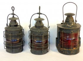 Grouping Of 3 Old Iron Lanterns Including 2 Matching
