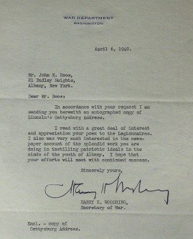 FDR Secy War HENRY WOODRING-Typed Ltr Signed
