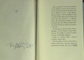 RAY BRADBURY - His Book Signed, 1st Edition