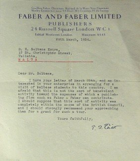 British Author T S ELIOT - Typed Ltr Signed