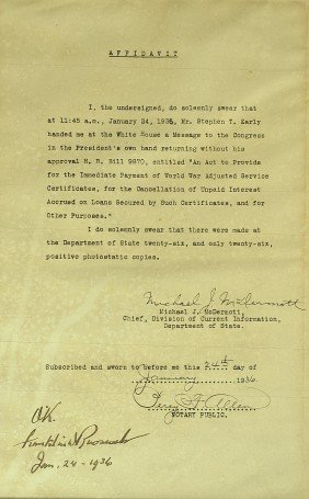 FRANKLIN D ROOSEVELT - Legislative Act Signed