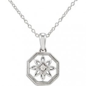 STERLING SILVER NECKLACE DIAMOND PENDANT CHAIN