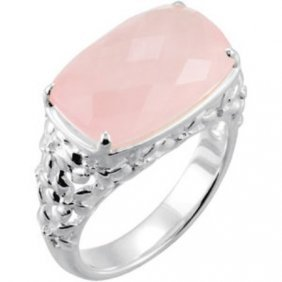 STERLING SILVER RING PINK ROSE QUARTZ= 12 CARATS!