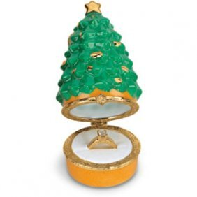 PORCELAIN CHRISTMAS TREE RING BOX & ORNAMENT!