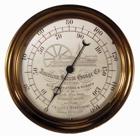 AMERICAN STEAM GAUGE WITH ENGRAVED BOX BED ENGINE