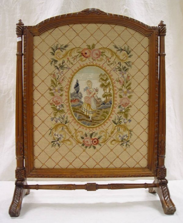 532 Victorian Needlepoint Fireplace Screen In Carved W Lot 532