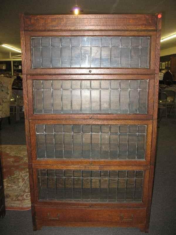 630199 4 Stack Oak Barrister Bookcase W Leaded Glass