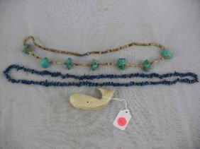 STONE JEWELRY INC. TURQUOISE, WHALE TOOTH CARV