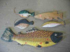"""LOT OF CARVED WOODEN FISH / LARGEST IS 42"""" L"""