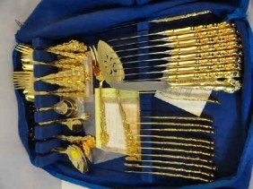 12210021: GOLD ELECTROPLATED FLATWARE SET