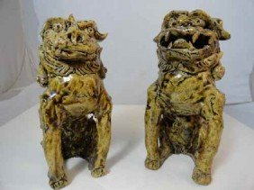12210074: PAIR OF HAND-BUILT POTTERY FOO DOGS